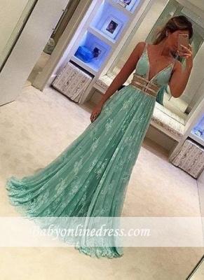 Mint Green Sheer Prom DressesLace Deep V-Neck A line Evening Gowns_3