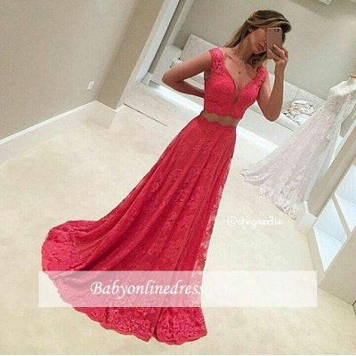 Two-Piece V-Neck Long Lace Mermaid Red Sleeveless Prom Dresses_1