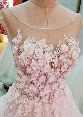 Cap Sleeves Flowers Lace-Up Ball-Gown Luxury Wedding Dresses_2