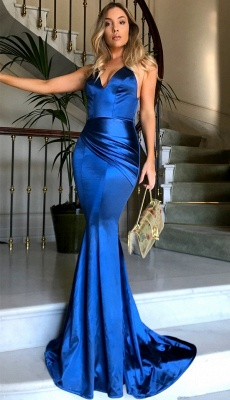 Shiny Silver Backless Evening Gowns | Spaghettis Straps V-Neck Formal Dress_3