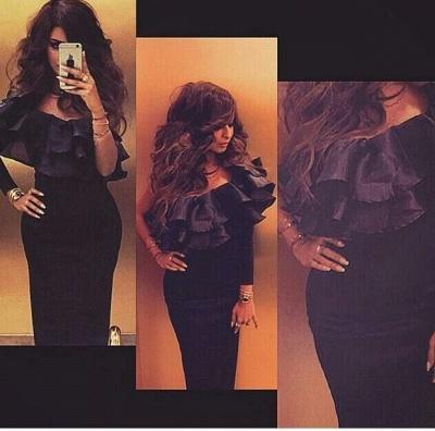One Shoulder Black Arabic Robe De Soiree Dress Tiers Long Sleeve Mermaid Formal Evening Gowns_3