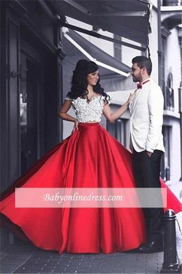 Appliques Lace Red Off-the-Shoulder Elegant Evening Dress 2018_5