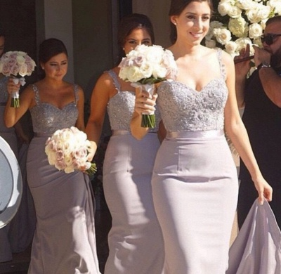 Mermaid Bridesmaid Dresses Lace Beading Straps Bridal Party Maid of Honor Dresses_2