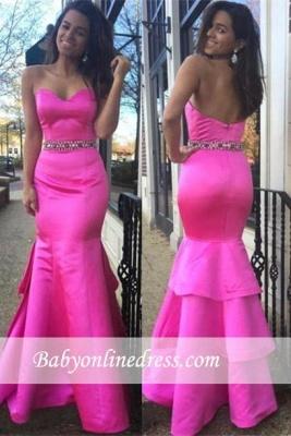 Beautiful Hot-Pink Layered Zipper Sweetheart Evening Dress with Beadings_3