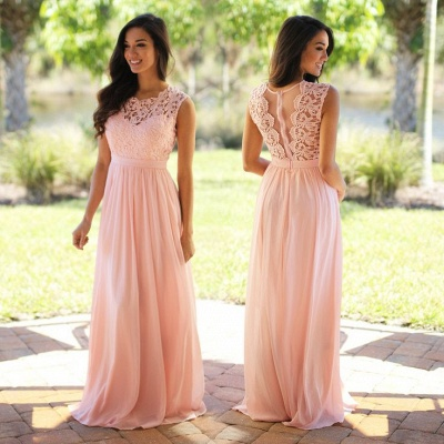 Cheap Sleeveless Lace Prom Dresses Chiffon Pink Sheer Back Long Evening Gowns_3