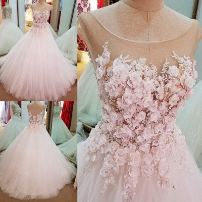 Cap Sleeves Flowers Lace-Up Ball-Gown Luxury Wedding Dresses_3