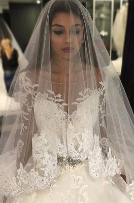 Luxury Appliques Long-Sleeves Bridal Gowns 2018 Scoop Crystal Tulle Wedding Dress_2