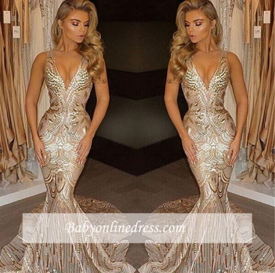 V-neck Mermaid Sleeveless Champagne Sexy Sequins Deep Gold Evening Gown_2