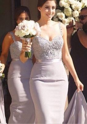 Mermaid Bridesmaid Dresses Lace Beading Straps Bridal Party Maid of Honor Dresses_1