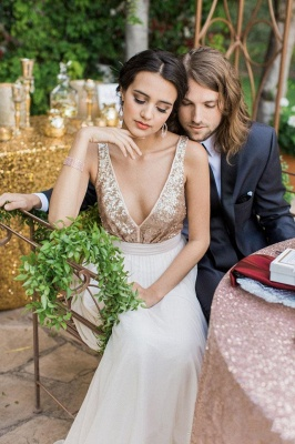 Summer Sequined Open-Back Bowknot Beach  Plunging-Neck Wedding Dresses_3
