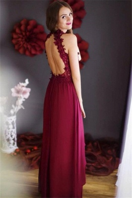 Lace Chiffon Sheath Burgundy Halter Floor-length Sleeveless Prom Dress_3