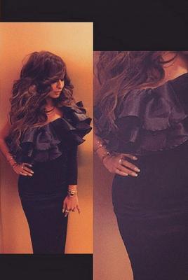 One Shoulder Black Arabic Robe De Soiree Dress Tiers Long Sleeve Mermaid Formal Evening Gowns_2