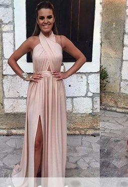 Alluring Halter Backless A-line Prom Dress Split-front Sleeveless Evening Gowns_3