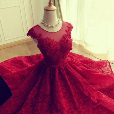 Red Short Lace Applqiues Homecoming Dress Cap Sleeves A-Line Cocktail Dresses_3
