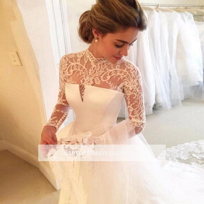 Elegant A-line Long-Sleeve Lace Zipper High-Neck Wedding Dress_1