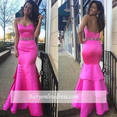 Beautiful Hot-Pink Layered Zipper Sweetheart Evening Dress with Beadings_1