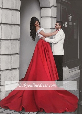 Appliques Lace Red Off-the-Shoulder Elegant Evening Dress 2018_6