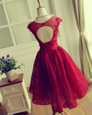 Red Short Lace Applqiues Homecoming Dress Cap Sleeves A-Line Cocktail Dresses_5