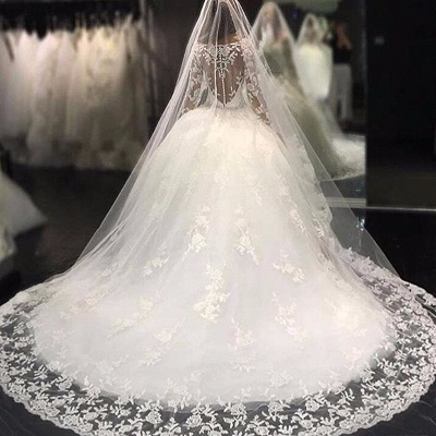 Luxury Appliques Long-Sleeves Bridal Gowns Scoop Crystal Tulle Wedding Dresses_4