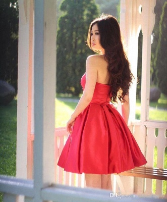 Simple Red Short Homecoming Dresses | Sweetheart Neck Puffy Cocktail Dresses_3