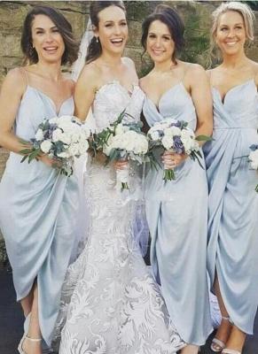 Sky-Blue Ruffles Spaghettis-Straps Sheath Slit Bridesmaid Dresses_3