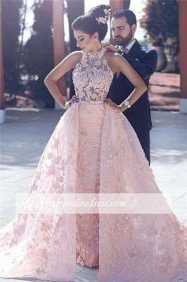Pink Lace-Appliques Halter Glamorous Sleeveless Evening Dress 2018_4