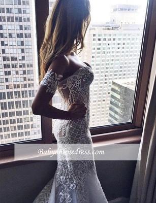 Zipper Embroider Off-the-shoulder Sexy Mermaid Wedding Dress_4