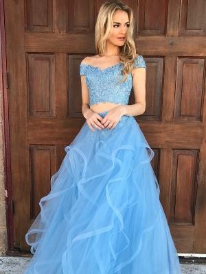 Chic Off-shoulder V-neck Floor-length Tulle Appliques Two-piece Prom Dresses_1