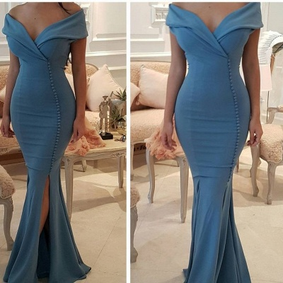 Sexy Blue Slit Evening Gowns | Off-the-Shoulder Buttons Prom Dresses_4