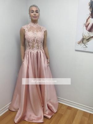 Bodice Lace-Applique High-Neck A-Line Long Chic Illusion Prom Dresses_1