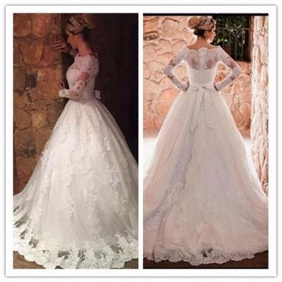 Off-The-Shoulder Elegant Long-Sleeves Lace-Applique A-Line Wedding Dresses_3