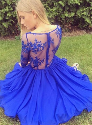 Sexy Royal Blue Homecoming Dresses | Long Sleeves V-Neck Cocktail Dresses_5