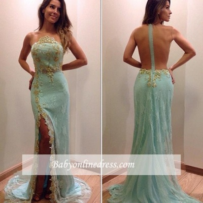 Stunning Lace Appliques Sleeveless Prom Dress Split Evening Gowns with Zipper_1