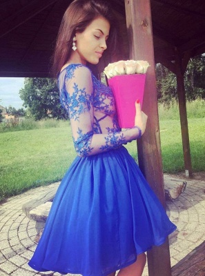 Sexy Royal Blue Homecoming Dresses | Long Sleeves V-Neck Cocktail Dresses_3
