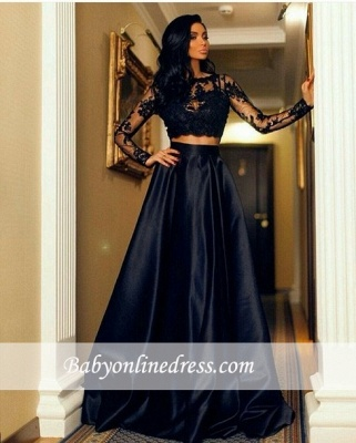 Two-Piece Lace A-line Modern Long-Sleeve Black Prom Dress_1
