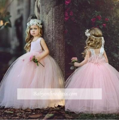 Flower Long Cute Pink Ball-Gown Girl Dresses