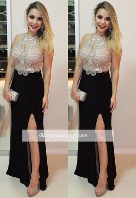 Front-Split Delicate Beading Halter Sleeveless Prom Dress_3