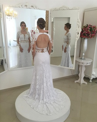 Elegant White Appliques Open Back Mermaid Wedding Dresses Sleeves Lace_3