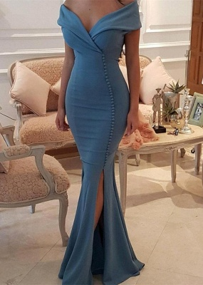 Sexy Blue Slit Evening Gowns | Off-the-Shoulder Buttons Prom Dresses_3