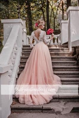 Elegant Pink Long Sleeves V-Neck Lace Tulle A-line Wedding Dresses_1