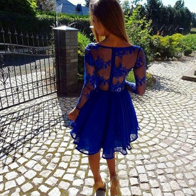 Sexy Royal Blue Homecoming Dresses | Long Sleeves V-Neck Cocktail Dresses_4