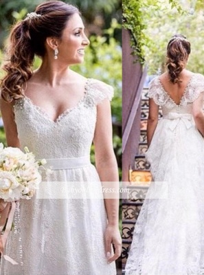 A-line V-neck Bow Cap Sleeves Simple Lace White Wedding Dress_1