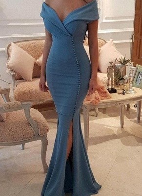 Sexy Blue Slit Evening Gowns   Off-the-Shoulder Buttons Prom Dresses_1