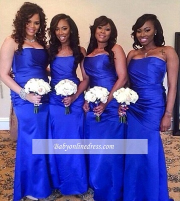 Elegant Royal Blue Strapless Floor Length Long Ruched Bridesmaid Dress_1