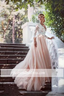 Elegant Pink Long Sleeves V-Neck Lace Tulle A-line Wedding Dresses_3
