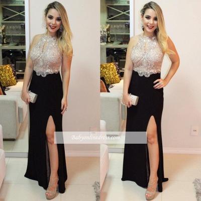Front-Split Delicate Beading Halter Sleeveless Prom Dress_1