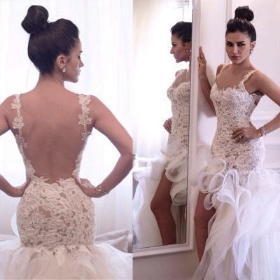 Hi-lo Mermaid Beach Wedding Dresses Straps Open Back Lace Ruffles Train Sexy Bridal Gowns_5