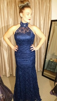 Elegant Lace Mermaid Halter Prom Dresses Lace-Up Crystal Evening Gowns_5