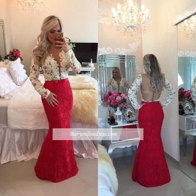 Long Sleeves Lace Mermaid Floor Length Prom Dresses with Beadings_1