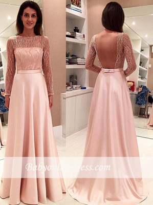 Glamorous Long Long-Sleeve Prom Dress Open-Back Evening Dress with Bowknot_3